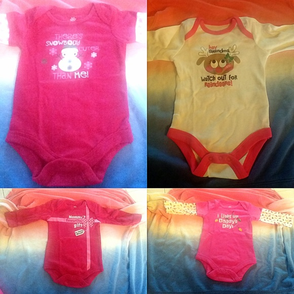 Unbranded Other - NWT Lot 4 Christmas-Themed One-Piece Baby Sz 0-3